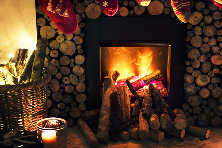 Cosy Log Fire & Festive Fireplace